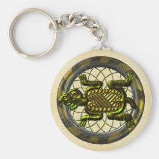 Mayan Turtle Basic Round Button Keychain