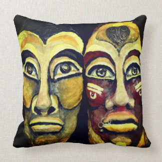 Mayan warriors - surrealism design throw pillow