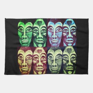 Mayan warriors - surrealism painted design kitchen towel