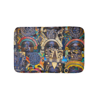 Mayan Wooden Masks for Sale Bathroom Mat