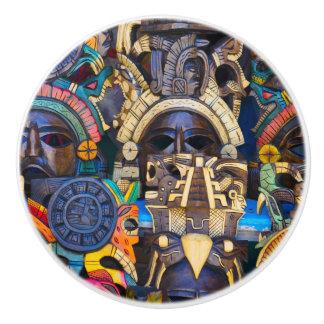 Mayan Wooden Masks for Sale Ceramic Knob
