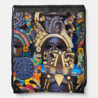 Mayan Wooden Masks for Sale Drawstring Bag