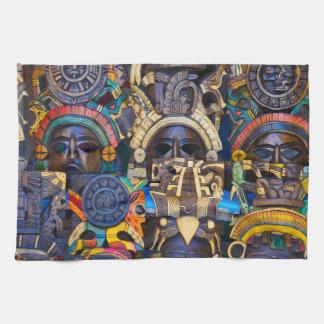 Mayan Wooden Masks for Sale Kitchen Towel