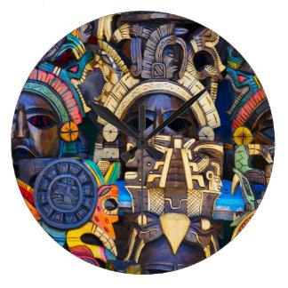 Mayan Wooden Masks for Sale Large Clock