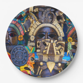 Mayan Wooden Masks for Sale Paper Plate