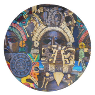 Mayan Wooden Masks for Sale Party Plate