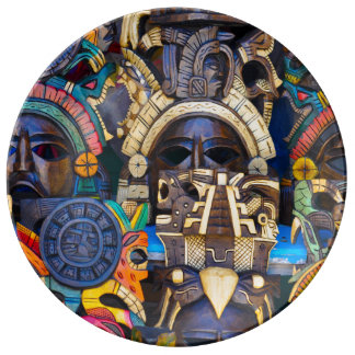 Mayan Wooden Masks for Sale Porcelain Plate