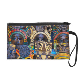 Mayan Wooden Masks for Sale Wristlet