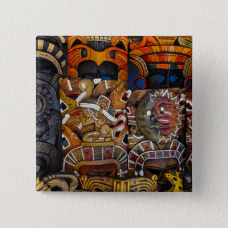 Mayan Wooden Masks in Mexico 2 Inch Square Button