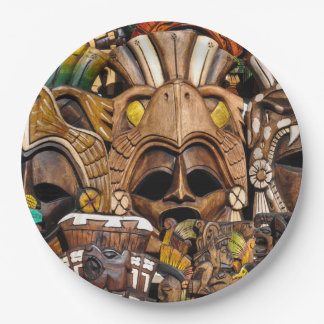 Mayan Wooden Masks in Mexico 9 Inch Paper Plate