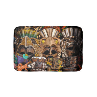 Mayan Wooden Masks in Mexico Bath Mat