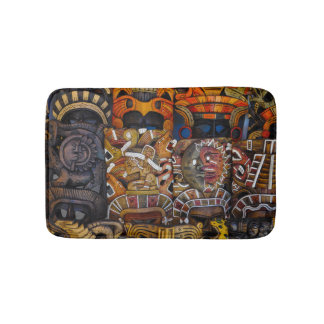 Mayan Wooden Masks in Mexico Bathroom Mat