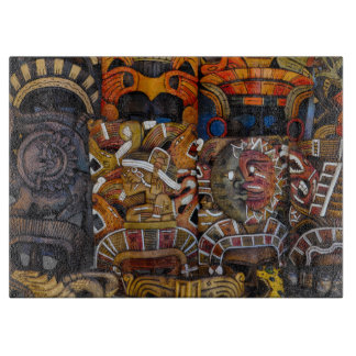 Mayan Wooden Masks in Mexico Boards
