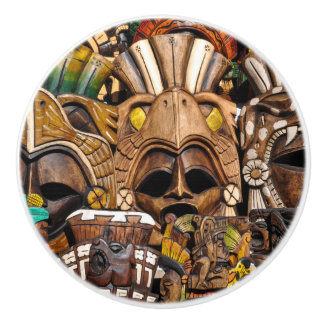Mayan Wooden Masks in Mexico Ceramic Knob