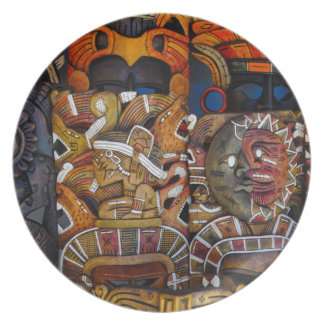 Mayan Wooden Masks in Mexico Dinner Plate