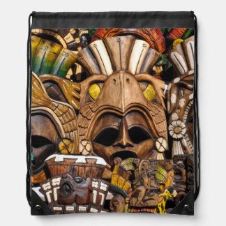 Mayan Wooden Masks in Mexico Drawstring Bag