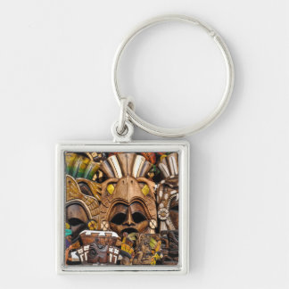 Mayan Wooden Masks in Mexico Keychain