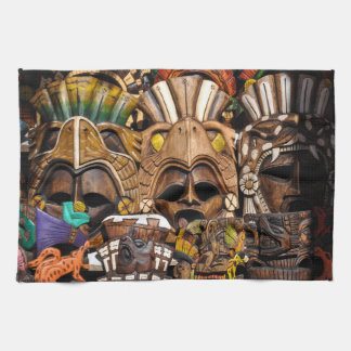 Mayan Wooden Masks in Mexico Kitchen Towel