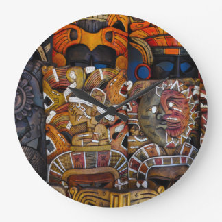 Mayan Wooden Masks in Mexico Large Clock