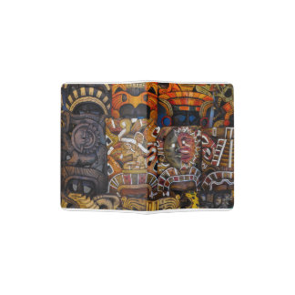 Mayan Wooden Masks in Mexico Passport Holder
