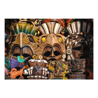 Mayan Wooden Masks in Mexico Photo Print