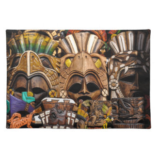 Mayan Wooden Masks in Mexico Placemat