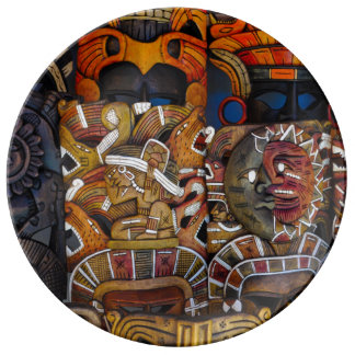 Mayan Wooden Masks in Mexico Porcelain Plate