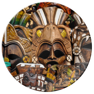 Mayan Wooden Masks in Mexico Porcelain Plates