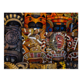 Mayan Wooden Masks in Mexico Postcard