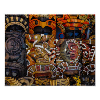 Mayan Wooden Masks in Mexico Poster