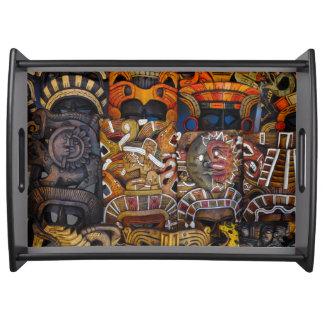 Mayan Wooden Masks in Mexico Serving Tray