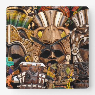 Mayan Wooden Masks in Mexico Square Wall Clock