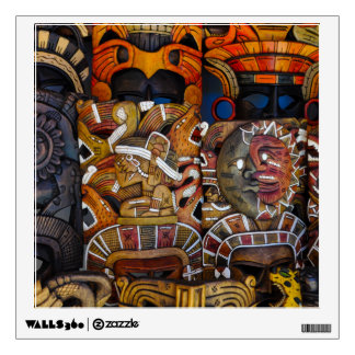 Mayan Wooden Masks in Mexico Wall Sticker
