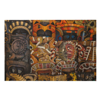 Mayan Wooden Masks in Mexico Wood Prints