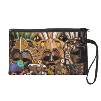 Mayan Wooden Masks in Mexico Wristlet