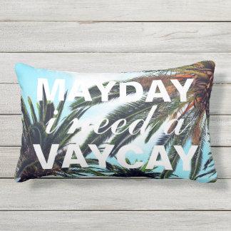 Mayday I Need A Vacay Tropical Palm Trees Lumbar Pillow