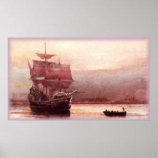 Mayflower in the Hudson Harbor Poster