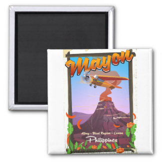 Mayon Volcano philippines adventure poster Magnet