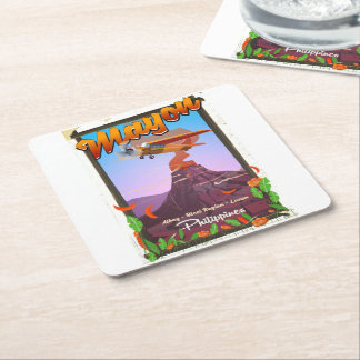Mayon Volcano philippines adventure poster Square Paper Coaster