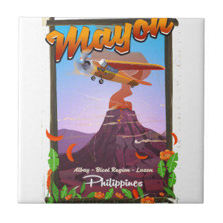 Mayon Volcano philippines adventure poster Tile