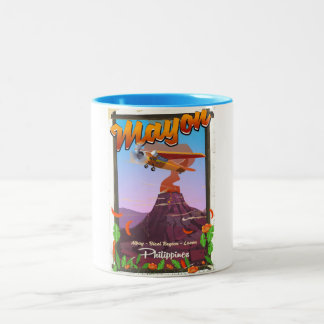 Mayon Volcano philippines adventure poster Two-Tone Coffee Mug