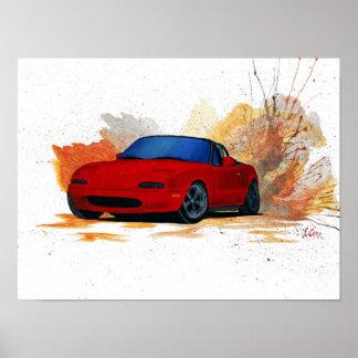 Mazda Miata Drift Painting Poster