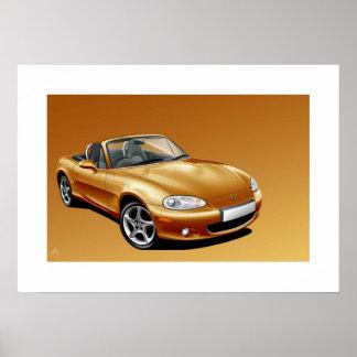 Mazda MX5 mk2 Poster Illustration