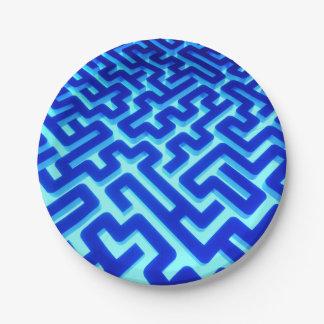 Maze Blue Paper Plate