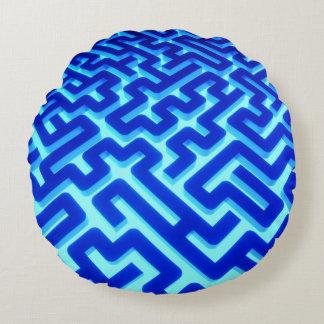 Maze Blue Round Pillow