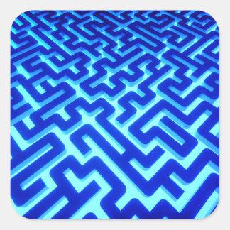 Maze Blue Square Sticker