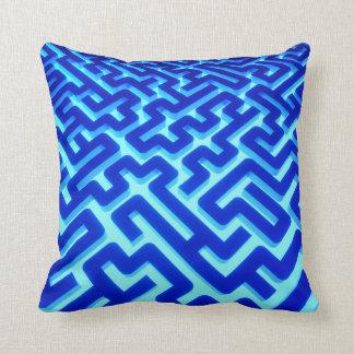 Maze Blue Throw Pillow