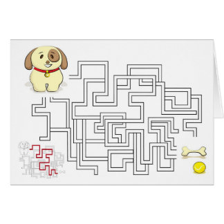 Maze game dog and ball card