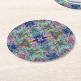 Maze of Colors Round Paper Coaster