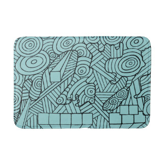 Maze of map bath mats with cute doodle pattern